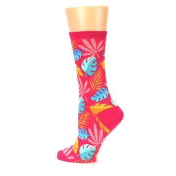 Image of Pink Tropical Leaves Women's Dress Socks (side-2-13)