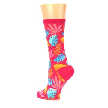 Image of Pink Tropical Leaves Women's Dress Socks (side-2-back-14)