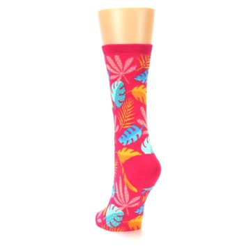 Image of Pink Tropical Leaves Women's Dress Socks (side-2-back-16)