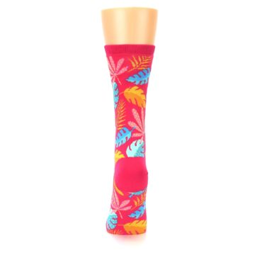 Image of Pink Tropical Leaves Women's Dress Socks (back-18)