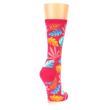 Image of Pink Tropical Leaves Women's Dress Socks (side-1-back-21)
