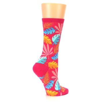 Image of Pink Tropical Leaves Women's Dress Socks (side-1-23)