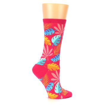 Image of Pink Tropical Leaves Women's Dress Socks (side-1-24)