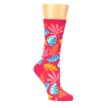 Image of Pink Tropical Leaves Women's Dress Socks (side-1-26)