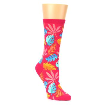 Image of Pink Tropical Leaves Women's Dress Socks (side-1-27)