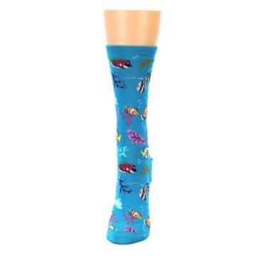 Image of Turquoise Ocean Fish Women's Dress Socks (side-2-front-06)