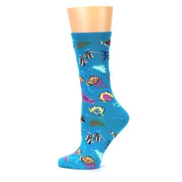 Image of Turquoise Ocean Fish Women's Dress Socks (side-2-12)