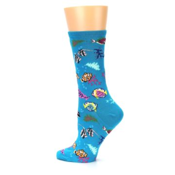 Image of Turquoise Ocean Fish Women's Dress Socks (side-2-13)