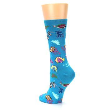 Image of Turquoise Ocean Fish Women's Dress Socks (side-2-back-15)