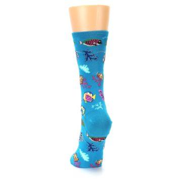 Image of Turquoise Ocean Fish Women's Dress Socks (back-17)