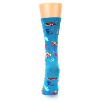 Image of Turquoise Ocean Fish Women's Dress Socks (back-18)