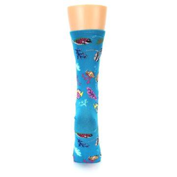 Image of Turquoise Ocean Fish Women's Dress Socks (back-19)