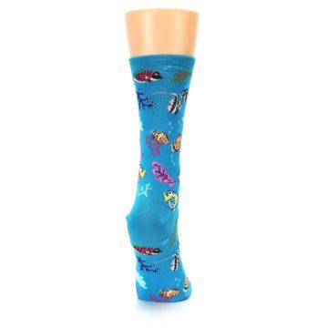 Image of Turquoise Ocean Fish Women's Dress Socks (side-1-back-20)