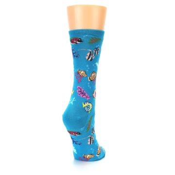 Image of Turquoise Ocean Fish Women's Dress Socks (side-1-back-21)
