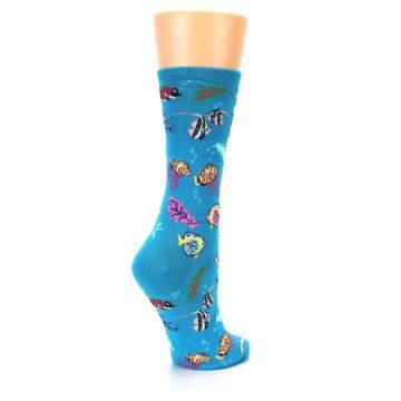 Image of Turquoise Ocean Fish Women's Dress Socks (side-1-back-22)