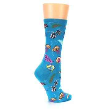 Image of Turquoise Ocean Fish Women's Dress Socks (side-1-23)