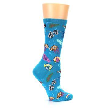 Image of Turquoise Ocean Fish Women's Dress Socks (side-1-24)