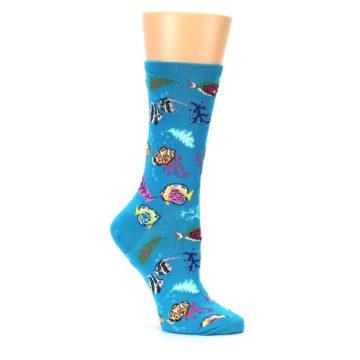 Image of Turquoise Ocean Fish Women's Dress Socks (side-1-26)