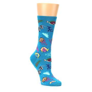 Image of Turquoise Ocean Fish Women's Dress Socks (side-1-27)