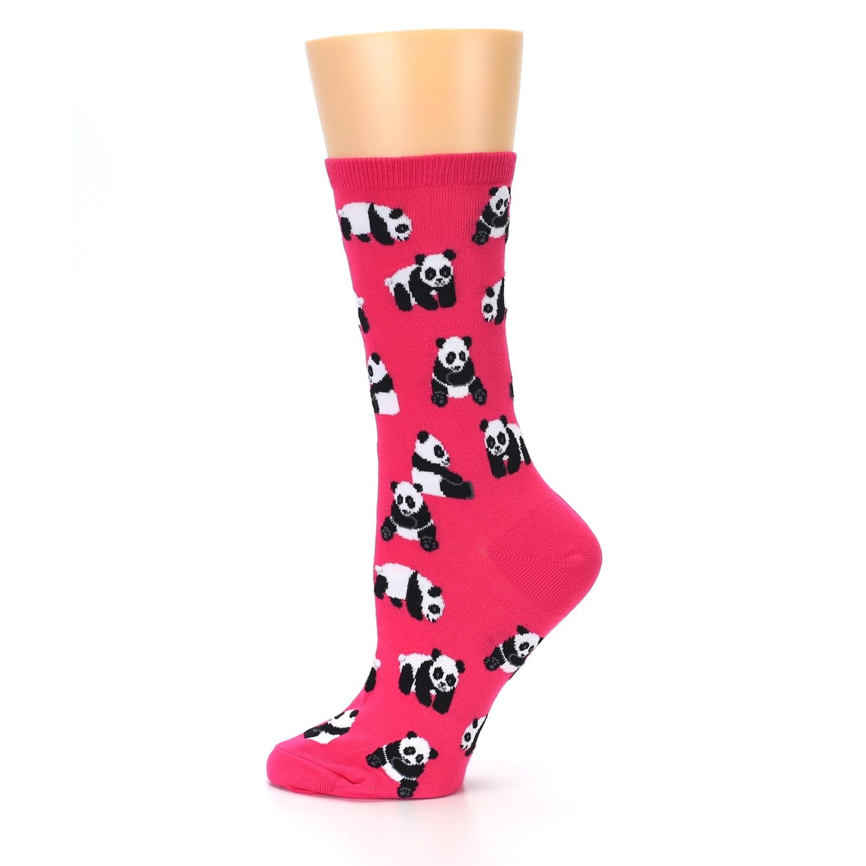 a760535a1408 Image of Pink Panda Bears Women's Dress Socks (side-2-12)
