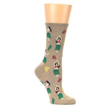 Image of Tan Hawaiian Hula Girls Women's Dress Socks (side-1-26)