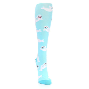 Image of Light Blue Baby Seals Women's Knee High Sock (side-1-front-03)