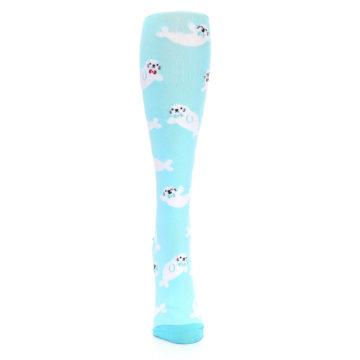 Image of Light Blue Baby Seals Women's Knee High Sock (front-04)