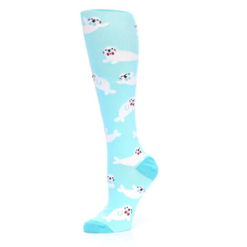 Image of Light Blue Baby Seals Women's Knee High Sock (side-2-10)