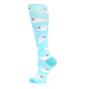 Image of Light Blue Baby Seals Women's Knee High Sock (side-2-13)