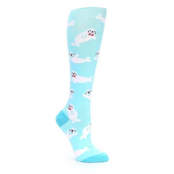Image of Light Blue Baby Seals Women's Knee High Sock (side-1-26)