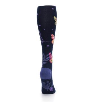 Image of Navy Pink Butterflies Women's Knee High Sock (side-1-back-20)