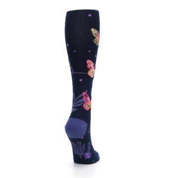 Image of Navy Pink Butterflies Women's Knee High Sock (side-1-back-21)