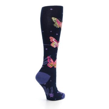 Image of Navy Pink Butterflies Women's Knee High Sock (side-1-23)