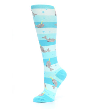 Image of Blue Narwhal Women's Knee High Sock (side-2-11)