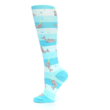 Image of Blue Narwhal Women's Knee High Sock (side-2-12)