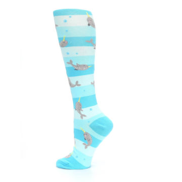 Image of Blue Narwhal Women's Knee High Sock (side-2-13)