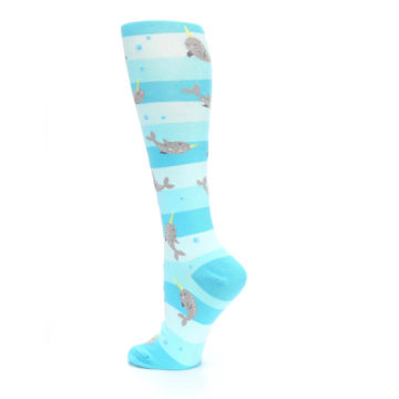 Image of Blue Narwhal Women's Knee High Sock (side-2-back-14)