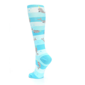 Image of Blue Narwhal Women's Knee High Sock (side-2-back-15)