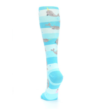 Image of Blue Narwhal Women's Knee High Sock (back-17)
