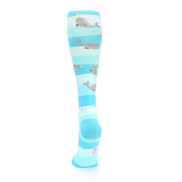 Image of Blue Narwhal Women's Knee High Sock (back-18)