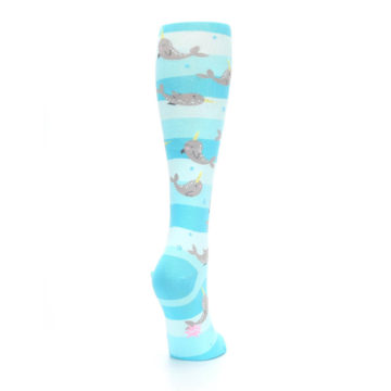 Image of Blue Narwhal Women's Knee High Sock (side-1-back-21)