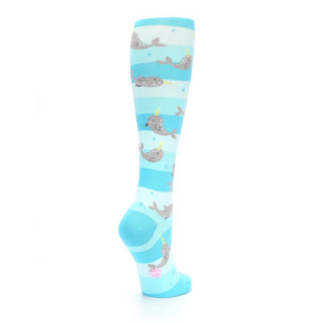 Image of Blue Narwhal Women's Knee High Sock (side-1-back-22)