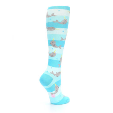 Image of Blue Narwhal Women's Knee High Sock (side-1-23)