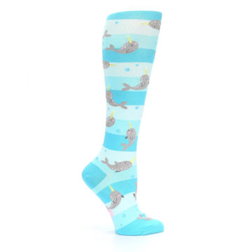 Image of Blue Narwhal Women's Knee High Sock (side-1-25)