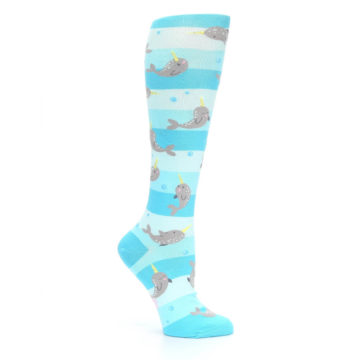 Image of Blue Narwhal Women's Knee High Sock (side-1-26)