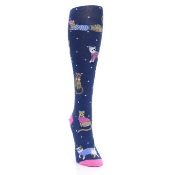 Image of Navy Business Cat-sual Women's Knee High Sock (side-1-front-03)