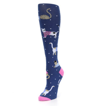 Image of Navy Business Cat-sual Women's Knee High Sock (side-2-front-08)