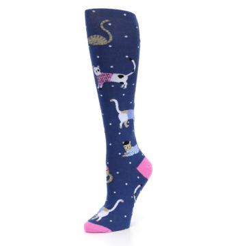 Image of Navy Business Cat-sual Women's Knee High Sock (side-2-09)