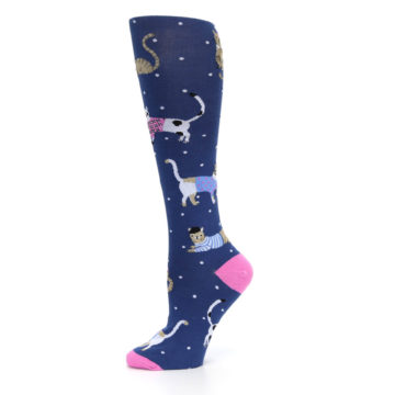Image of Navy Business Cat-sual Women's Knee High Sock (side-2-11)