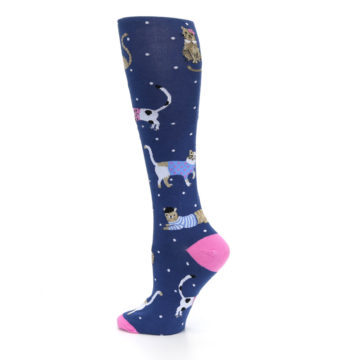 Image of Navy Business Cat-sual Women's Knee High Sock (side-2-13)